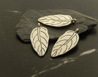 5 silver leaf charms pendants