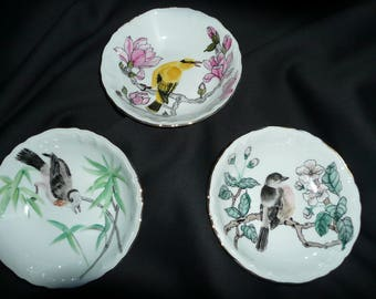 hand painted porcelain 3 cups: with white birds on a branch.
