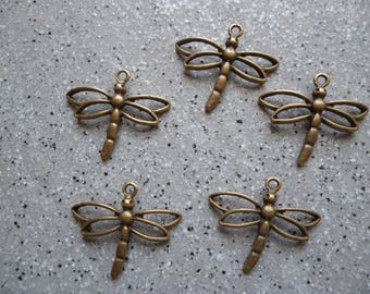 5 bronze Dragonfly charms