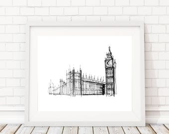 Big Ben Drawing | Original artwork | Architectural drawing | London | Pen and Ink by hand | 8x10 Wall Print