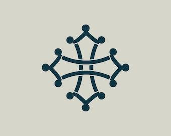 Stencil Occitan cross. Languedoc cross. Cross of Toulouse. Stencil adhesive vinyl (ref 126)