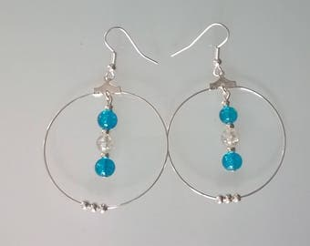 Creole earrings turquoise/white