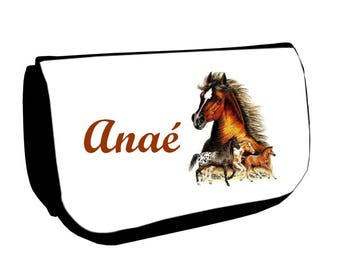 Black horses /crayons make-up case personalized with name
