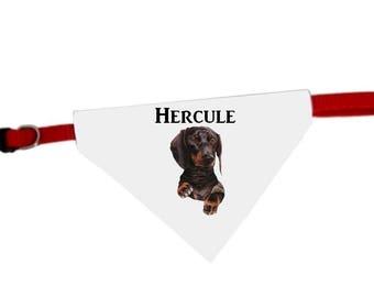 Necklace personalized with name Dachshund dog bandana