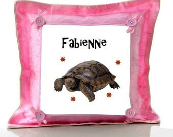 Pink turtle pillow personalized with name