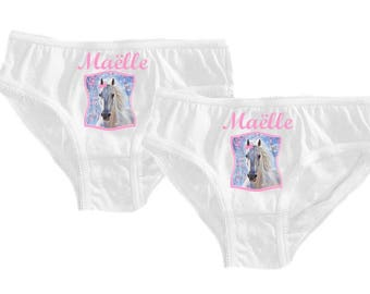 Set of 2 girl panties white horse personalized with name