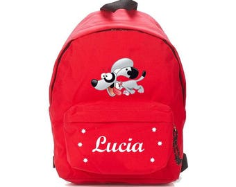 bag has red dog personalized with name