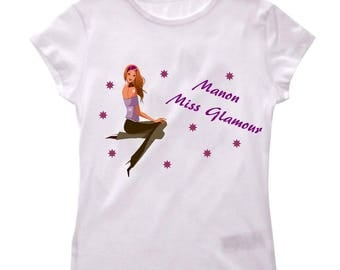 T-shirt Miss glamour girl personalized with name