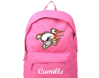 Backpack pink skull personalized with name