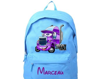 bag has blue truck personalized with name