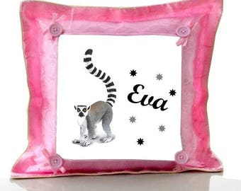 Cushion Pink lemur personalized with name