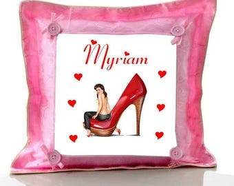 Cushion Pink pin personalized with name
