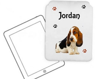 Cover for tablet pc Basset hound personalized with name