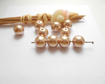 set of 10 Brown pearl beads 10 mm glossy