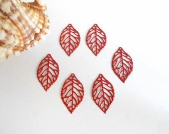 set of 6 red enameled prints glittery leaves