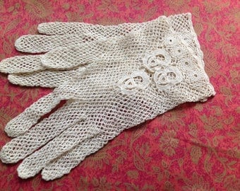 Pair of vintage crochet Lace Gloves