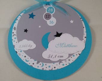 Birth announcement round teal blue and grey with clouds