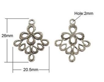 Set of 10 charms connectors pendants silver Argyle T31