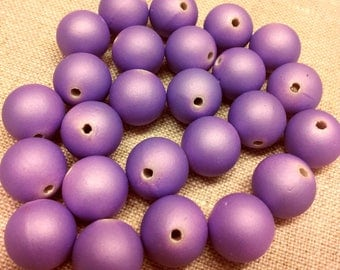 Set of 10 purple - matte beads - 12 mm T11