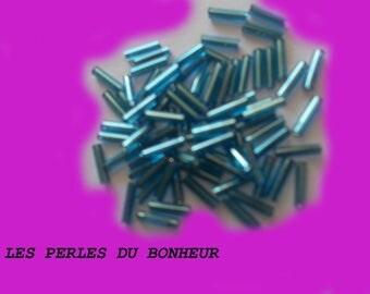 set of 5 blue glass tube beads