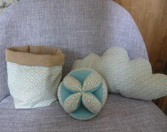 ball, montessori, basket and cloud pillow blue celadon & mustard