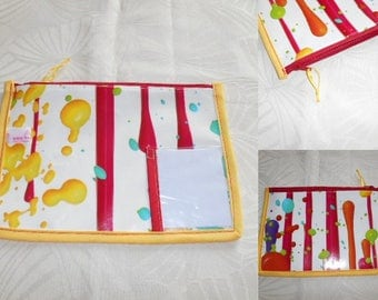 wallet with space to record name class name - pattern stain color in oilcloth