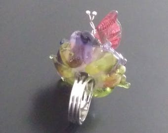 Ring: Extravagant flower with butterfly - Murano glass