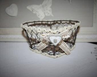 Heart decorated shabby chic iron basket
