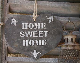 "Heart slate ""Home Sweet Home"""