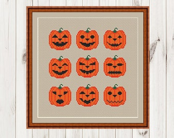 Halloween  Cross Stitch Pattern Sampler Pumpkin  pattern  Modern Cross Stitch