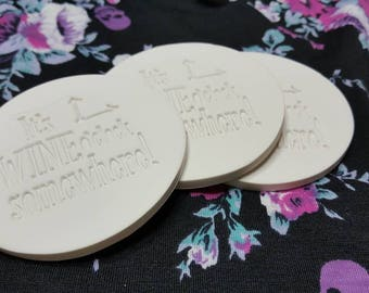 "White ""It's Wine O'clock Somewhere"" Polymer Clay Coasters Set of 4"
