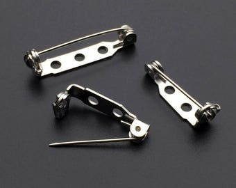 40pcs White K Plated Brooch Base Safety Pins Brooch Bar Setting Supplies for Jewelry Finding