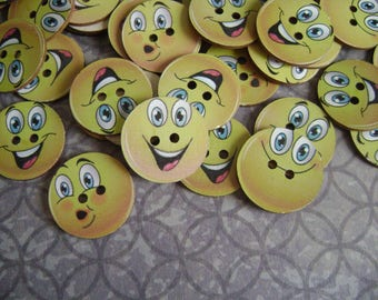 Smiley face wooden buttons