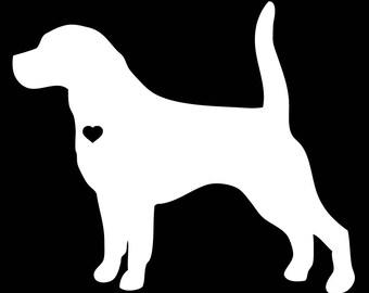 Beagle w/Heart Silhouette Vinyl Decal