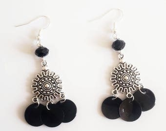 Black sequins and Silver earrings