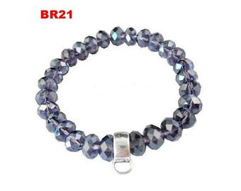 BR21 PURPLE CRYSTAL BEAD BRACELET