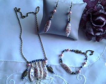 Set: Necklace, bracelet, earrings
