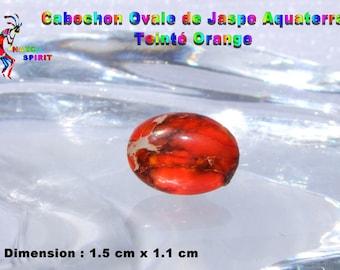 1 cabochon oval Jasper Aquaterra tinted Orange 1.5 cm x 1.1 cm