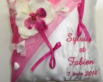 Custom White fuchsia Orchid theme wedding ring cushion