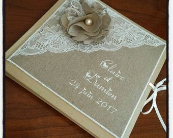 Personalized and embroidered names with linen wedding guestbook