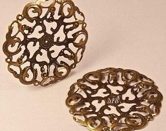 prints 10 carved bronze filigree 44mm pendant