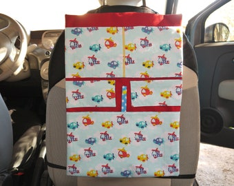 """""""Helicopters, clouds and stars, multicolored"""" car Organizer in cotton"""