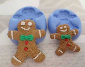 Mold polymer clay Christmas gingerbread cookie 2.5 cm and 3.5 cm