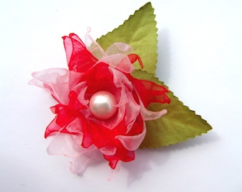 Red and pink organza flower brooch