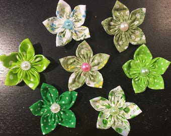 7 flowers kanzashi flower fabric, yoyo, flower, to customize your creations, embellishment, bag, hair clip, brooch, scrapbooking, flower, jewelry