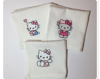 Baby cotton napkin Kitty embroidered towel