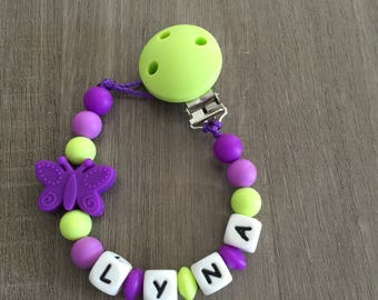 Purple silicone pacifier and lime green - Ideal birth gift