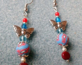 Earring polymer clay and silver Butterfly