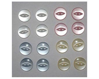 80 x buttons basic 14 mm 2 holes: 4 colors set G - 000809