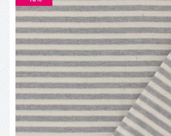 Gray stripe jersey fabric and white 100% cotton